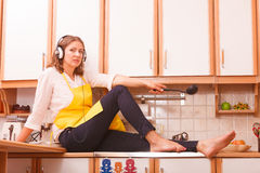 Thinking housewife at home Stock Image