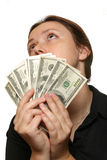 Thinking how to spend money. Woman thinking how to spend her money Royalty Free Stock Photo