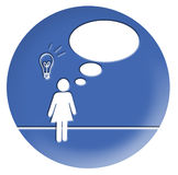 Thinking About an Idea. There is a woman thinking about an idea. In the balloon you can write what you want Royalty Free Stock Image