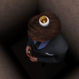Thinking inside the box. Man waiting for a good idea Royalty Free Stock Photo