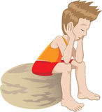 Thinking kid. Cartoon of a lonely child thinking and bored stock illustration