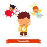 Thinking kid making choice between good and evil stock illustration