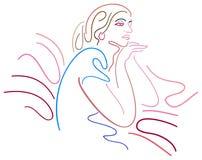 Thinking lady. Isolated brush stroke illustration Royalty Free Stock Photo