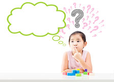 Thinking little girl with bubble and question mark over head. Thinking little girl with question mark over head and empty bubble isolated on white background Royalty Free Stock Photo