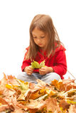 Thinking little girl with color leaves Stock Images