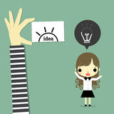 Thinking lose version2. Businesswoman with some idea has lose and thief hand carry idea Stock Images