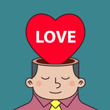 Thinking About Love Inside a Man Head Royalty Free Stock Images