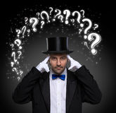 Thinking magician Royalty Free Stock Image