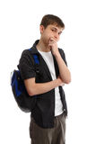 Thinking male student stock photos