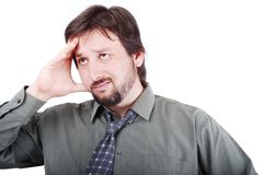 Thinking man. A man with thinking and worring expression Stock Images