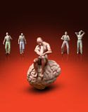 Thinking Man. Sitting on his brain depressed imagine his suffering - 3d model illustration Royalty Free Stock Photos