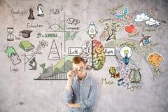 Thinking man with brain sketch Stock Photos