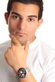 Thinking man chronograph watch Stock Photos