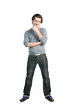 Thinking man full length. Happy thinking young man with positive expression standing full length isolated on white background royalty free stock photos