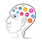 Thinking Man Head Outline Vector Illustration Royalty Free Stock Image