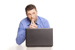 Thinking man and laptop. Attractive businessman With Laptop, On White Background royalty free stock photos