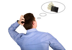Thinking man about money and work Stock Image