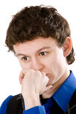 Thinking man portrait isolated on white Royalty Free Stock Photo