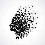 Thinking man silhouette with thought Royalty Free Stock Photos