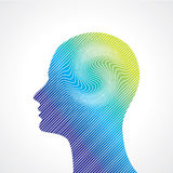 Thinking man silhouette with thought Royalty Free Stock Image