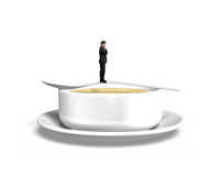 Thinking man standing on spoon with soup bowl Stock Photo