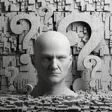 Thinking man statue and question marks Stock Images