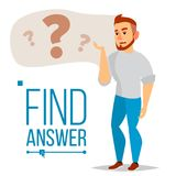 Thinking Man Vector. Question Sign In Think Bubble. Male Think And Find Answer. Isolated Flat Cartoon Character. Thinking Man Vector. Question Sign In Think Royalty Free Stock Photo