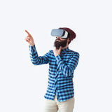 Thinking man in VR goggles royalty free stock photography