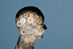 Thinking Mechanism. Human head with gears inside royalty free stock photography