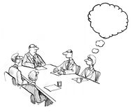 Thinking During Meeting. INSERT YOUR OWN TEXT.  Illustration of a business meeting where no one is talking, but a woman is thinking Stock Image