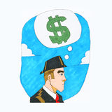 Thinking money. One business man profile view with money symbol above his head against blue sky and white clouds Stock Photos