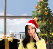 Thinking my destination at Christmas Royalty Free Stock Photography