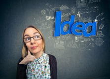 Thinking nerd with idea Stock Photos