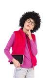Thinking nerdy girl Stock Photo