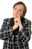 Thinking old lady Royalty Free Stock Images