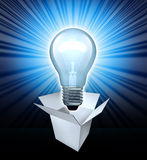 Thinking out of the box. Symbol featuring a glowing lightbulb with an opened white box representing the concept of finding solutions with creative leadership vector illustration