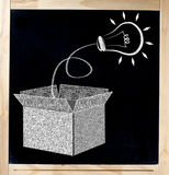 Thinking Out of the Box on Chalkboard. Glowing lightbulb popping out from an open box on chalckboard expressing concept of creativity, innovation or finding a stock images