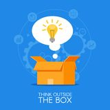 Thinking out of the box vector concept background. Lightbulb showing up from cardboard packing  Stock Photo