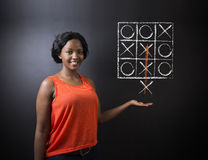 Thinking out of the box woman on blackboard background Stock Photos