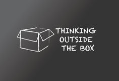 Thinking outside the box. Illustrated blackboard with text and symbol Royalty Free Stock Images