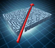 Thinking outside the box. Represented by a red arrow cutting through a complicated maze as a shortcut solving a problem with an innovative simple solution and Royalty Free Stock Images