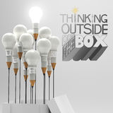 THINKING OUTSIDE OF THE BOX as concept Stock Image