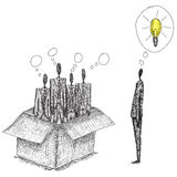 Thinking outside the box. Doodle style, hand drawn conceptual business image of people thinking in the box and one independent thinker coming up with an idea vector illustration