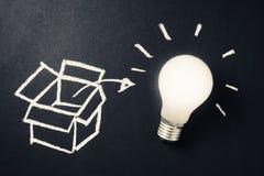 Thinking outside the box. Glowing light bulb with drawing box as Thinking outside the box concept stock image