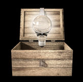 Thinking Outside The Box Lightbulb. An open rough wooden planked box with a hinged lid and a hasp with a regular illuminated lightbulb above it on an isolated Royalty Free Stock Photos