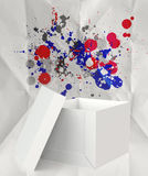 Thinking outside the box and splash colors crumpled paper Royalty Free Stock Images