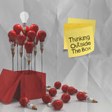 Thinking outside the box on sticky note and pencil lightbilb as Royalty Free Stock Images