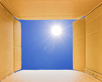 Thinking outside the open box to sky Stock Photography