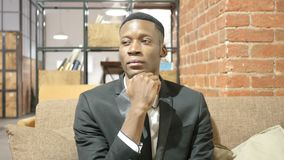 Thinking, Pensive Black Businessman, Planning stock video footage