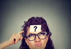 Free Thinking Perplexed Woman With Question Mark Looking Up Stock Photos - 85918313